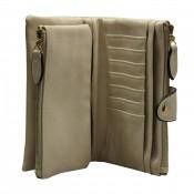 Organisateur de sac, compagnon, portefeuille beige en simili-cuir souple, avec porte-monnaie amovible