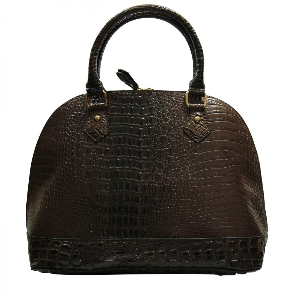 petit sac main arrondi en simili cuir fa on crocodile marron. Black Bedroom Furniture Sets. Home Design Ideas