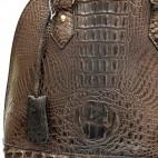 Petit sac à main arrondi en simili-cuir façon crocodile marron