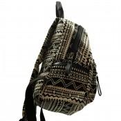 Sac à dos noir et blanc très pratique, à motif géométrique, inca, avec multiples poches