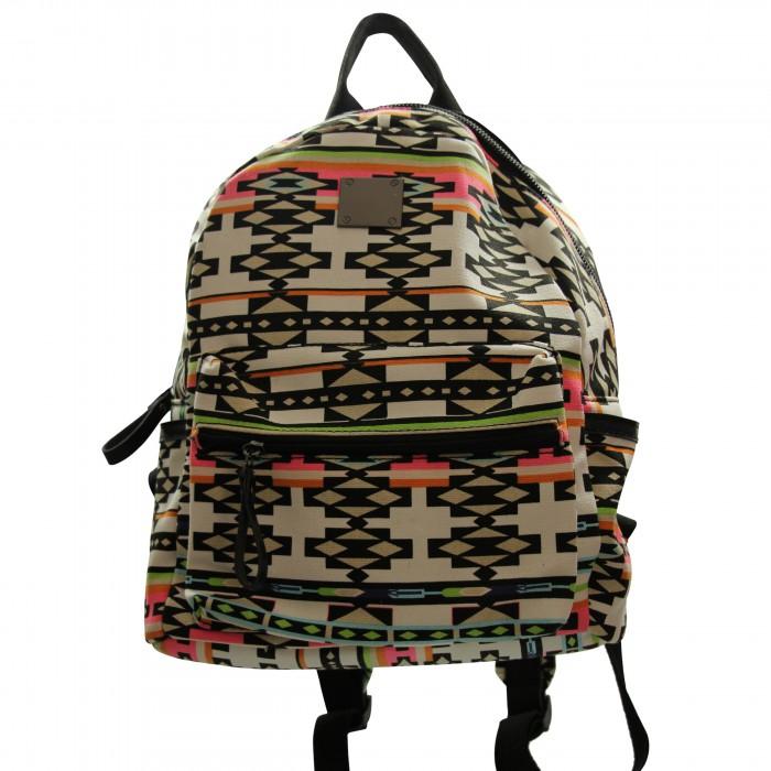 Sac à dos multicolore très pratique, à motif géométrique, inca, avec multiples poches