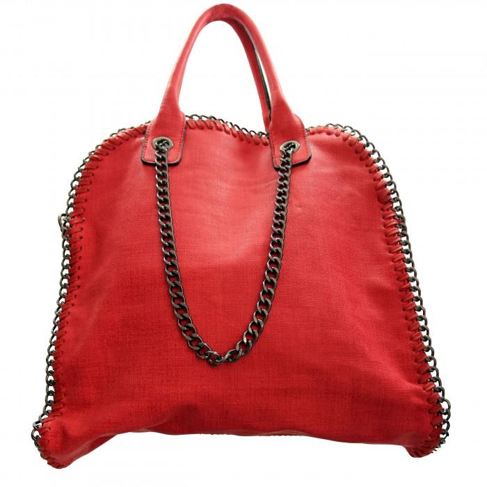Sac à main rouge en tissu original et imperméable avec chaînes et maillons