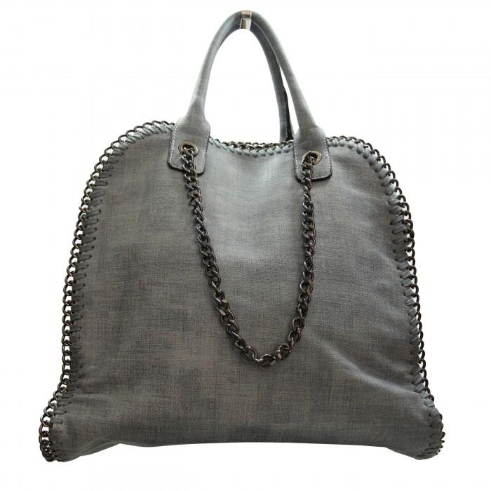 large discount arrives a few days away Sac à main gris clair en tissu original et imperméable avec chaînes et  maillons