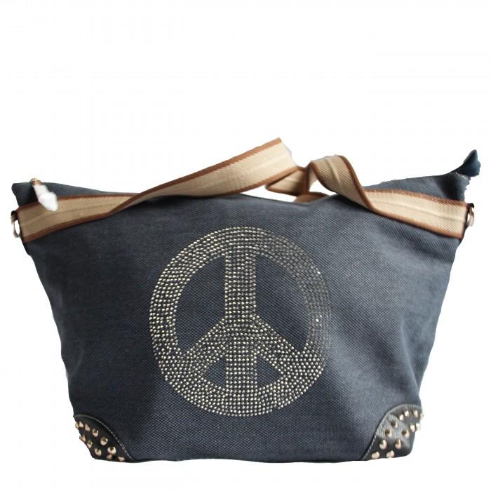 Sac à main bleu en tissu avec motif Peace&Love en paillettes et clous