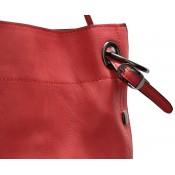 Sac à main en simili-cuir rouge corail souple très classe avec pochette de soirée amovible