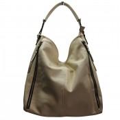 Grand sac à main beige simili-cuir avec fermetures éclair déco