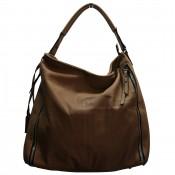Grand sac à main marron simili-cuir avec fermetures éclair déco
