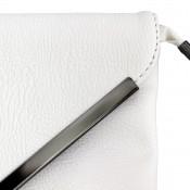 Petite pochette de soirée blanche enveloppe avec détails argentés