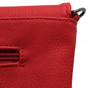 Petite pochette de soirée rouge enveloppe avec détails argentés