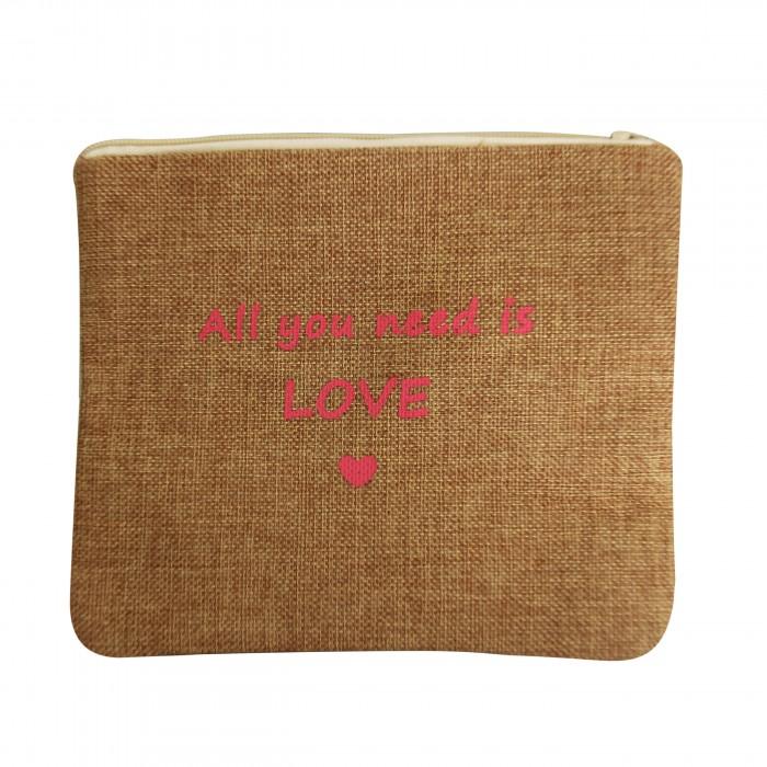 Petite pochette de soirée en toile de jute Love