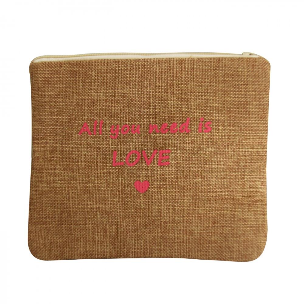 vente chaude en ligne 9f249 f1420 Petite pochette de soirée en toile de jute Love