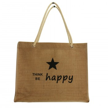 Sac shopping en toile de jute Happy