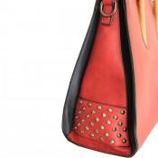 Sac à main rouge carré en simili-cuir à clous, avec intérieur noir