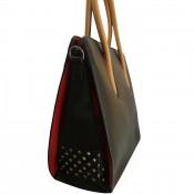 Sac à main noir carré en simili-cuir à clous, avec intérieur rouge