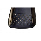 Sac à main bleu carré en simili-cuir à clous, avec intérieur gris