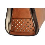 Sac à main camel carré en simili-cuir à clous, avec intérieur gris