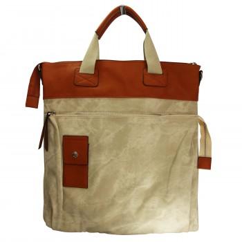 Grand sac à main rectangulaire beige et camel original effet jean et toucher peau de pêche