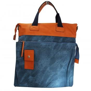 Grand sac à main rectangulaire bleu et camel original effet jean et toucher peau de pêche