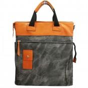Grand sac à main rectangulaire noir et camel original effet jean et toucher peau de pêche