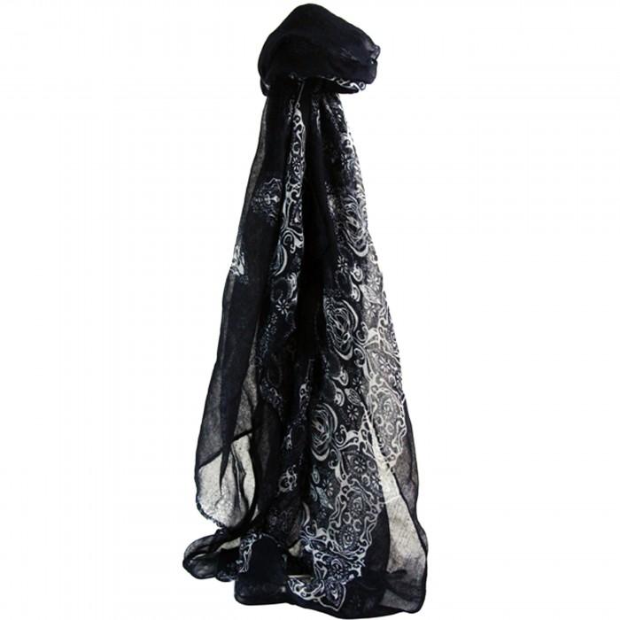 Foulard bleu foncé en mousseline de soie avec imprimés blancs, floraux et baroques
