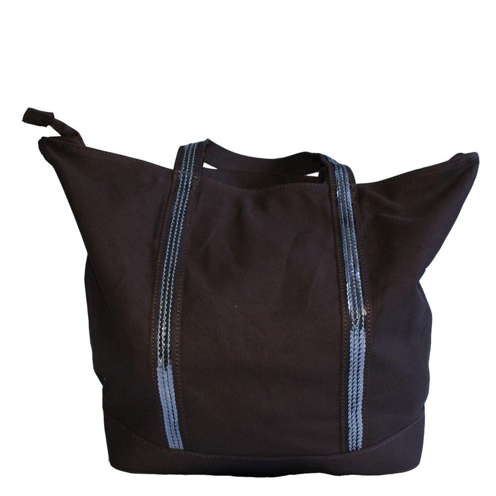 sac main marron style cabas avec lani res paillettes. Black Bedroom Furniture Sets. Home Design Ideas