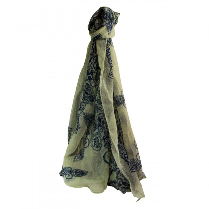 Foulard blanc en mousseline de soie avec imprimés bleus, floraux et baroques