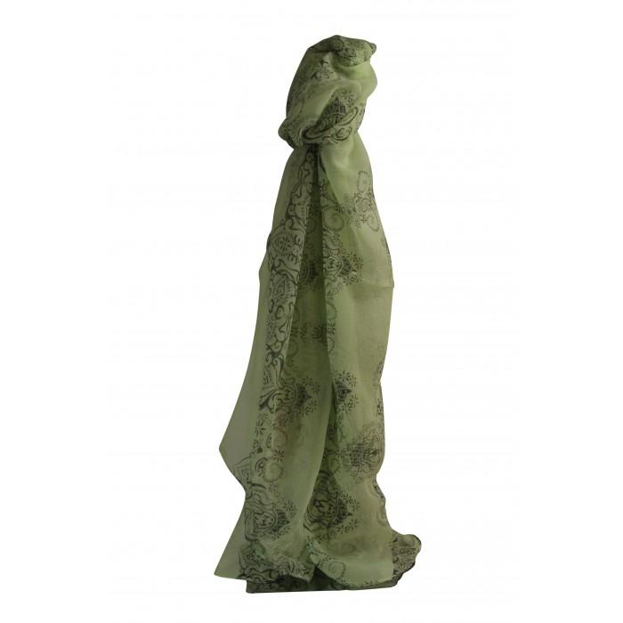 Foulard vert avec imprimés gris, très originaux, fleurs et ornements, baroques
