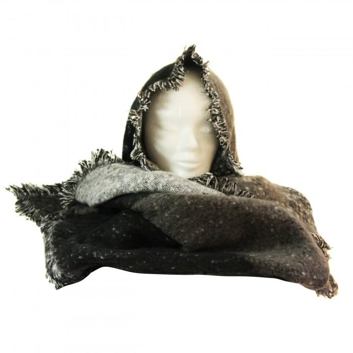 Echarpe tour de cou poncho en coton et laine, très douce et très grande, en nuances de gris, blanc et noir