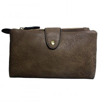 Organisateur de sac, compagnon, portefeuille taupe en simili-cuir souple, avec porte-monnaie amovible