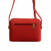 Petite besace sacoche rouge en cuir véritable avec nombreuses poches et bandoulière