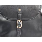 Petite besace sacoche noire en simili-cuir mat à fermeture originale