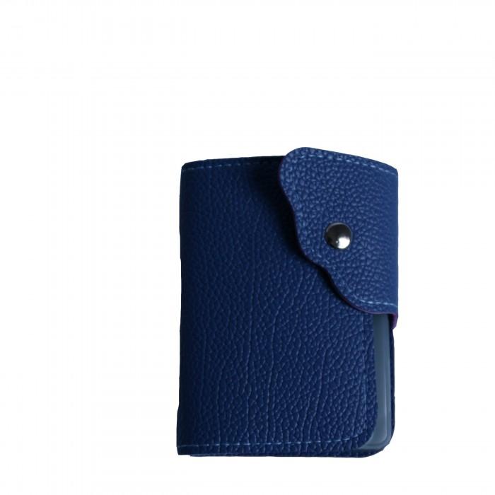 Portefeuille - porte-cartes bleu façon crocodile avec nombreux rangements et bouton pression