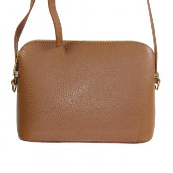 Petite besace sacoche marron en cuir véritable avec nombreuses poches et bandoulière