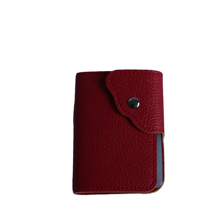 Portefeuille - porte-cartes rouge façon crocodile avec nombreux rangements et bouton pression