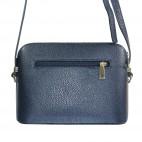 Petite besace sacoche bleue en cuir véritable avec nombreuses poches et bandoulière