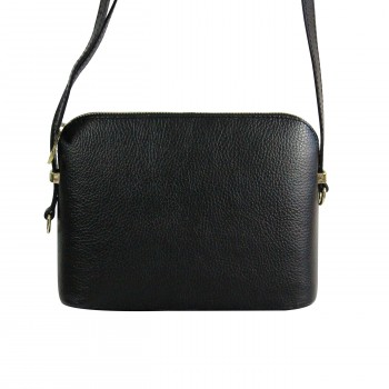 Petite besace sacoche noir en cuir véritable avec nombreuses poches et bandoulière