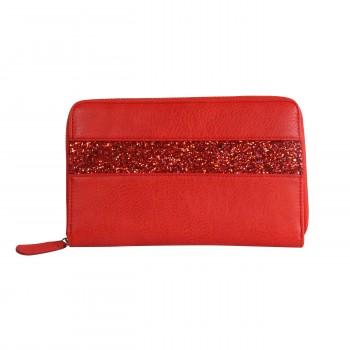 Compagnon tout en un portefeuille - porte-chéquier rouge avec bande à paillettes rouge