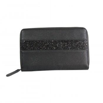 Compagnon tout en un portefeuille - porte-chéquier noir avec bande à paillettes noir