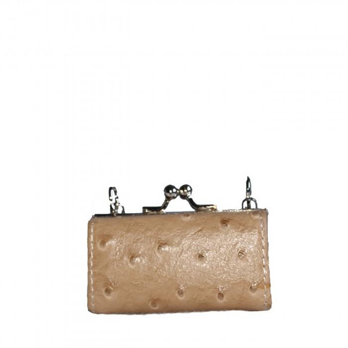 Porte-monnaie beige simili cuir style matelassé avec ouverture originale