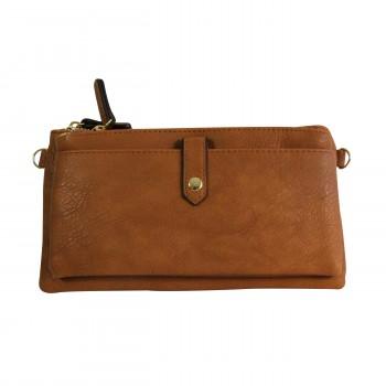 Organisateur de sac, compagnon, pochette de soirée marron en simili-cuir souple, avec bandoulière