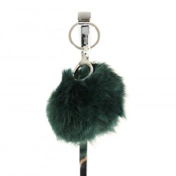 Petit porte-clés bijou de sac pompon vert foncé en fourrure synthétique