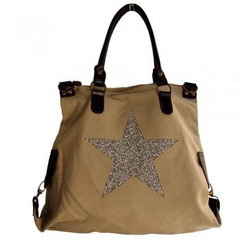 Sac à main beige en tissu avec motif étoiles en strass, rivets et détails en simili-cuir
