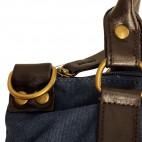 Sac à main bleu en tissu avec motif étoiles en strass, rivets et détails en simili-cuir