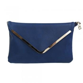 Petite pochette de soirée bleue marine enveloppe avec détails argentés