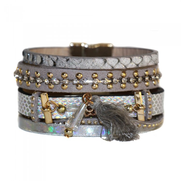 Bracelet en cuir à dominante gris avec multiples bracelets, pompon, motifs dorés et fermoir à aimant