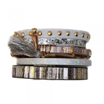 Bracelet en cuir à dominante gris avec 5 bracelets, pompon, motifs dorés, crocodile, strass et fermoir à aimant