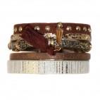 Bracelet en cuir à dominante marron avec 5 bracelets, pompon, motifs dorés, leopard, strass et fermoir à aimant