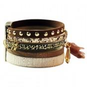 bracelet-cuir-marron-5-bracelets-pompon-or-leopard