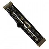 Bracelet en cuir à dominante noir avec multiples bracelets, pompon, motifs dorés et fermoir à aimant