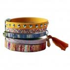 bracelet-cuir-orange-rose-5-bracelets-pompon-or-croco